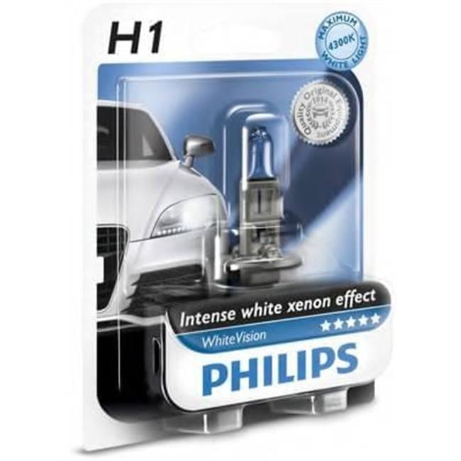 1 ampoule philips h1 whitevision 55 w 12 v. Black Bedroom Furniture Sets. Home Design Ideas