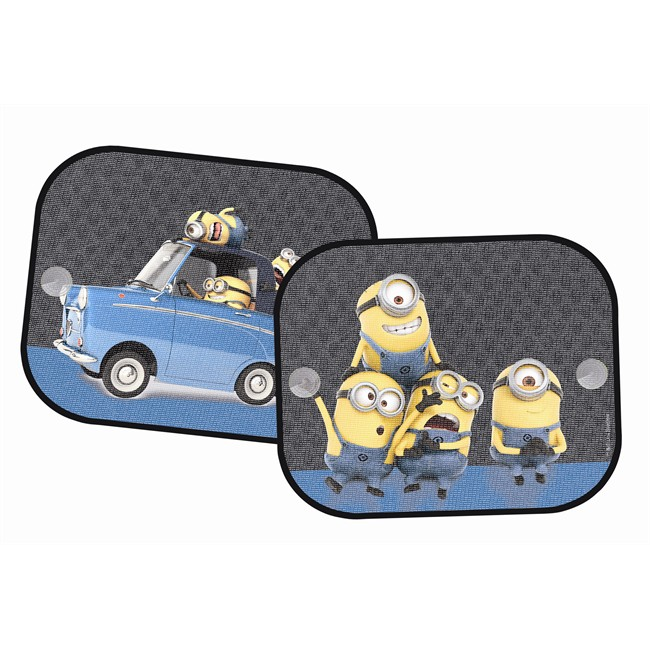 2 rideaux pare soleil ventouses lat raux minions 44 x 35 cm. Black Bedroom Furniture Sets. Home Design Ideas