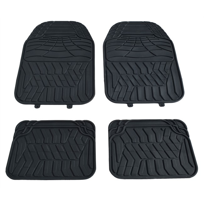 4 tapis de voiture universels en pvc custoauto soshi noir. Black Bedroom Furniture Sets. Home Design Ideas