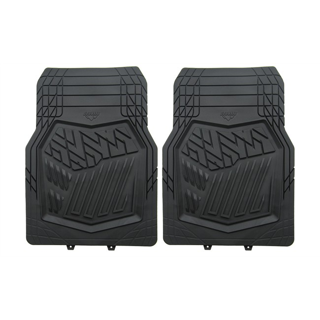 2 tapis de voiture universels avant en pvc hvd offroad noir. Black Bedroom Furniture Sets. Home Design Ideas