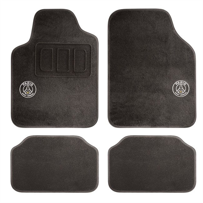 4 tapis voiture universels psg premium noirs. Black Bedroom Furniture Sets. Home Design Ideas