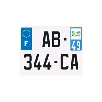 plaque d 39 immatriculation aluminium arri re carr. Black Bedroom Furniture Sets. Home Design Ideas