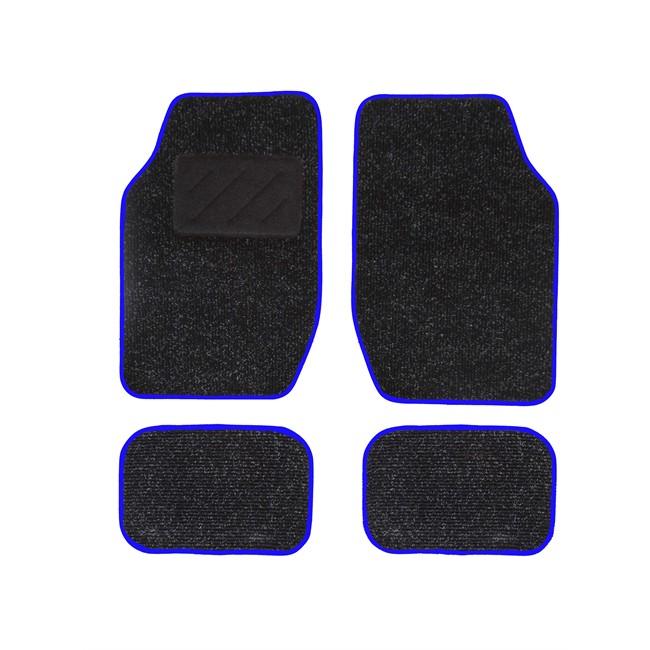 4 tapis de voiture universels moquette spot noir ganse bleue. Black Bedroom Furniture Sets. Home Design Ideas