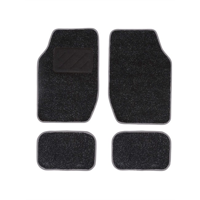 4 tapis de voiture universels moquette spot noir ganse. Black Bedroom Furniture Sets. Home Design Ideas